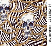 vector skull with chains... | Shutterstock .eps vector #1366582499
