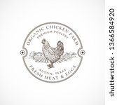 organic chicken farm framed...   Shutterstock .eps vector #1366584920