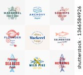 premium seafood vector signs or ... | Shutterstock .eps vector #1366584926