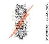 lion head. typography graphic... | Shutterstock .eps vector #1366587599