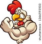strong cartoon chicken mascot... | Shutterstock .eps vector #1366593503