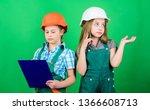 little kids in helmet with... | Shutterstock . vector #1366608713