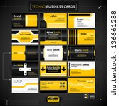 set of 15 business cards in... | Shutterstock .eps vector #136661288