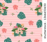 variety tropical flower and... | Shutterstock .eps vector #1366653650