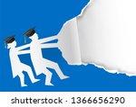 two graduates torn blue paper... | Shutterstock .eps vector #1366656290