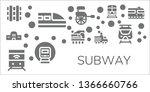 subway icon set. 11 filled... | Shutterstock .eps vector #1366660766