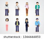 college students. diverse... | Shutterstock .eps vector #1366666853