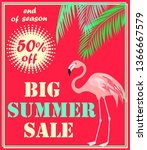 hot red flyer with big summer... | Shutterstock .eps vector #1366667579