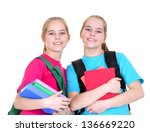 two young girls with backpacks... | Shutterstock . vector #136669220
