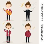 cute musician cartoon character ... | Shutterstock .eps vector #1366699019