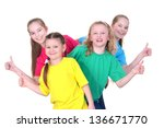 cheerful young girls in colored ... | Shutterstock . vector #136671770