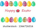 watercolor easter card with... | Shutterstock . vector #1366726316