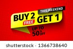 buy 2  get 1 sale banner.... | Shutterstock .eps vector #1366738640