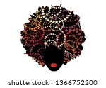curly afro hair  portrait... | Shutterstock .eps vector #1366752200