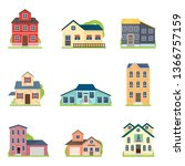 set of cute colorful houses in... | Shutterstock .eps vector #1366757159