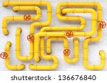 Yellow Gas Pipes On A Brick...