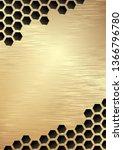 metal grate background. golden... | Shutterstock .eps vector #1366796780