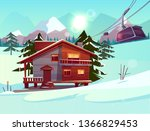 ski resort with house or chalet ... | Shutterstock .eps vector #1366829453