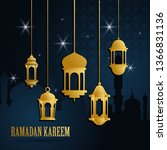 ramadan greeting card with... | Shutterstock .eps vector #1366831136