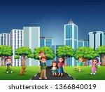 cartoon family having fun on... | Shutterstock . vector #1366840019