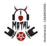 rock heavy metal label symbols.   Shutterstock .eps vector #1366843406