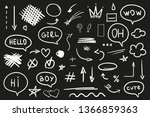 hand drawn abstract signs and... | Shutterstock .eps vector #1366859363