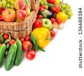 fruit and vegetable in basket...   Shutterstock . vector #136688384