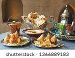 halal chicken samosas and... | Shutterstock . vector #1366889183