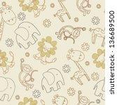 kid animals seamless pattern | Shutterstock .eps vector #136689500