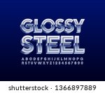 vector glossy steel alphabet... | Shutterstock .eps vector #1366897889