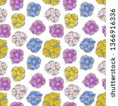 pattern of spring doodle flower ...   Shutterstock .eps vector #1366916336
