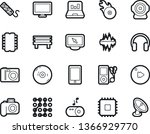 Bold Stroke Vector Icon Set - cd vector, mobile app, photo camera, laptop graph, chip, circuit, monitor, portable speaker, sound, audio player, fast forward button, headphones, music hit, bench, web
