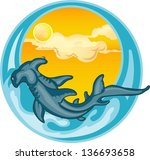 hammerheads fish on blue water ... | Shutterstock .eps vector #136693658
