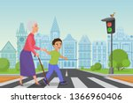 polite little boy helps smiling ... | Shutterstock .eps vector #1366960406