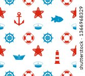 maritime seamless pattern with... | Shutterstock . vector #1366968329