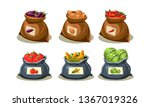 flat vector set of bags full of ... | Shutterstock .eps vector #1367019326