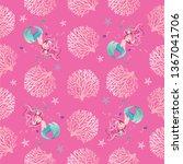 cute mermaid pattern design | Shutterstock .eps vector #1367041706