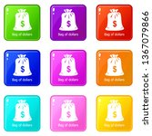 bag dollar icons set 9 color...
