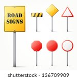 Set Of Road Signs Eps10 Vector...