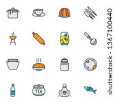 cook icons colored line set... | Shutterstock .eps vector #1367100440