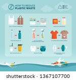 tips to reduce plastic waste... | Shutterstock .eps vector #1367107700