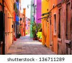 Colorful Street In Burano  Near ...