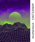 neon glowing grid rocks  retro...   Shutterstock . vector #1367120669