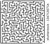 Labyrinth of medium complexity. Vector illustration of a maze. Abstract geometric background. Black and white pattern.