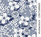 vector floral seamless pattern...   Shutterstock .eps vector #1367168660