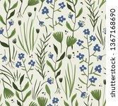 vector floral seamless pattern...   Shutterstock .eps vector #1367168690