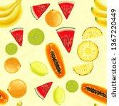 hand drawn seamless pattern... | Shutterstock . vector #1367220449