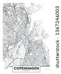 city map copenhagen  travel... | Shutterstock .eps vector #1367246003