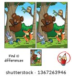Stock vector animals in the forest teddy bear fox hare hedgehog and owl find differences educational 1367263946