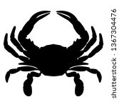 Crab Silhouette Isolated Vecto...